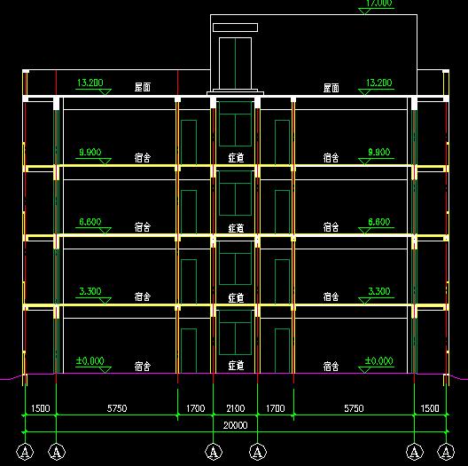 四层板式宿舍楼建筑设计图纸免费下载大小字体响应v图纸图片