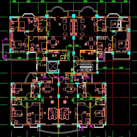 多套塔式住宅三房及四房户型平面图