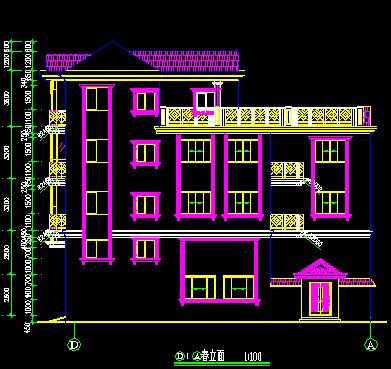 欧式四层独栋别墅建筑施工图纸