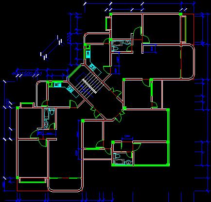 一梯三户多层住宅楼户型设计图