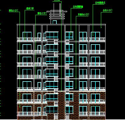 七层混砖结构塔式住宅楼建筑设计图纸
