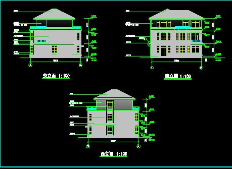某公寓三层楼建筑施工图