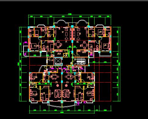 塔式住宅户型建筑设计图免费下载 - 建筑户型平面图