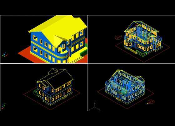 二层小户型别墅三维图免费下载
