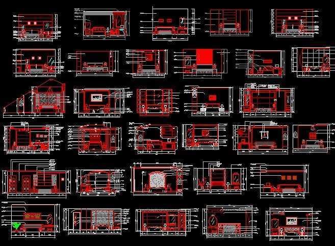 室内设计床头墙面cad图