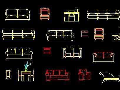 cad立面图库----沙发