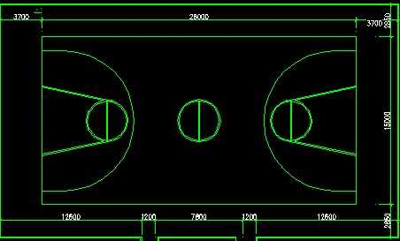 cad篮球场平面尺寸图