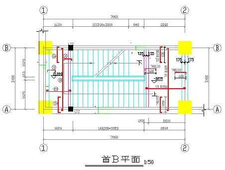 配筋一平详图段段图免费下载-建筑楼梯、台板图库大全绣长方形图纸图片