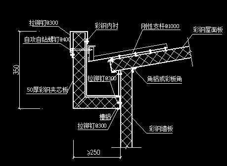 卡巴斯基免费版_彩钢板节点--外天沟免费下载 - 建筑详图、图库 - 土木工程网