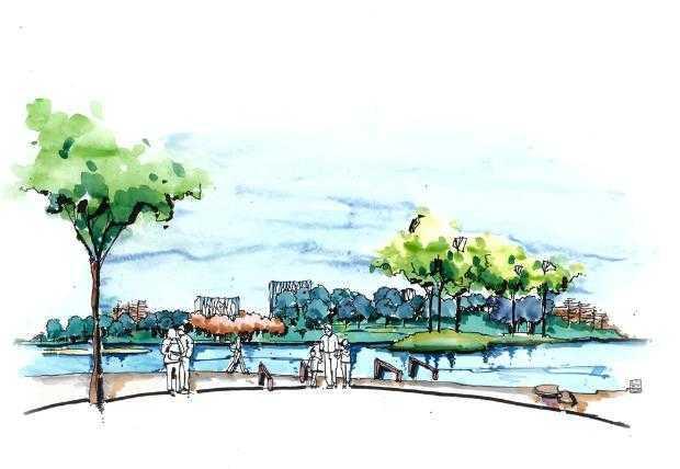 滨水景观手绘图