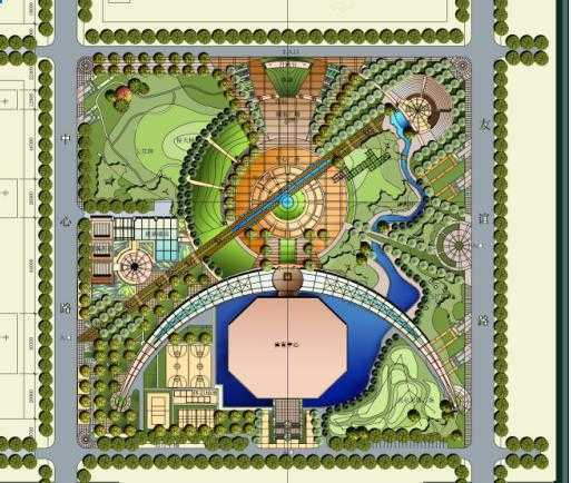 景观设计平面手绘图-某休闲小广场景观设计psd平面图
