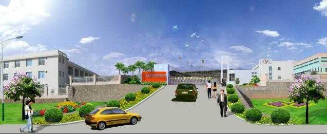 工厂大门入口及护坡绿化效果图
