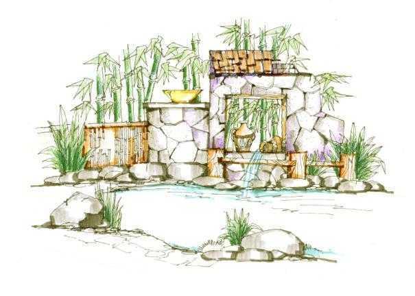 温泉设计手绘图集免费下载 - 建筑效果图 - 土木工程网