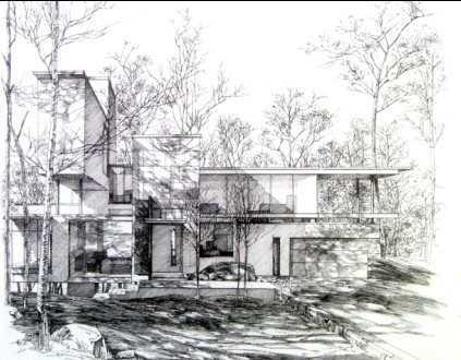 手绘园林建筑图 - 建筑效果图