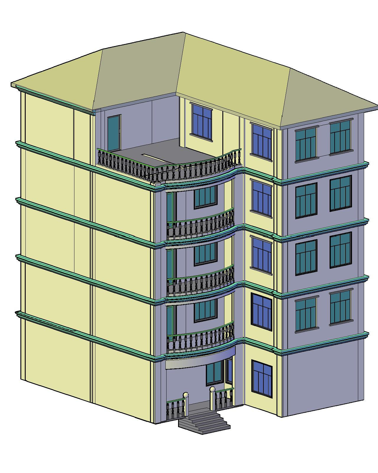 五层别墅施工图及效果图