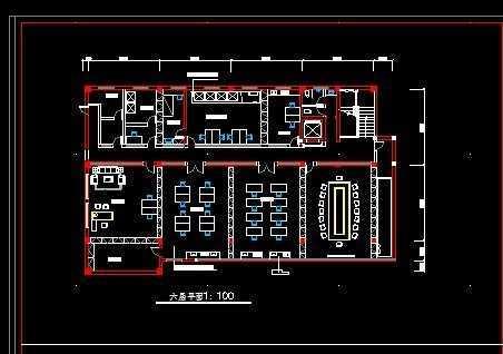 某办公室四六层装饰平面图免费下载