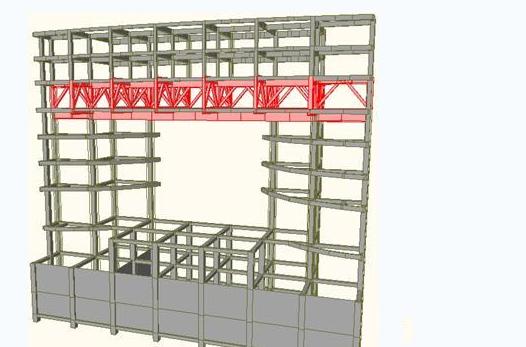 采用自重较轻的钢结构空间转换桁架共同承托上部层6