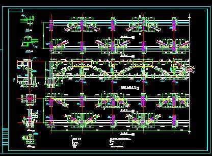 28米跨钢结构图纸桁架免费下载建筑大楼图纸图片