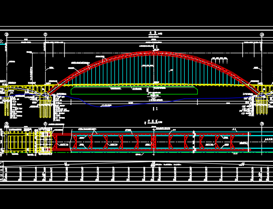 中承式钢管混凝土系杆拱桥施工图