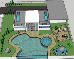 现代风格带泳池别墅庭院SketchUp模型