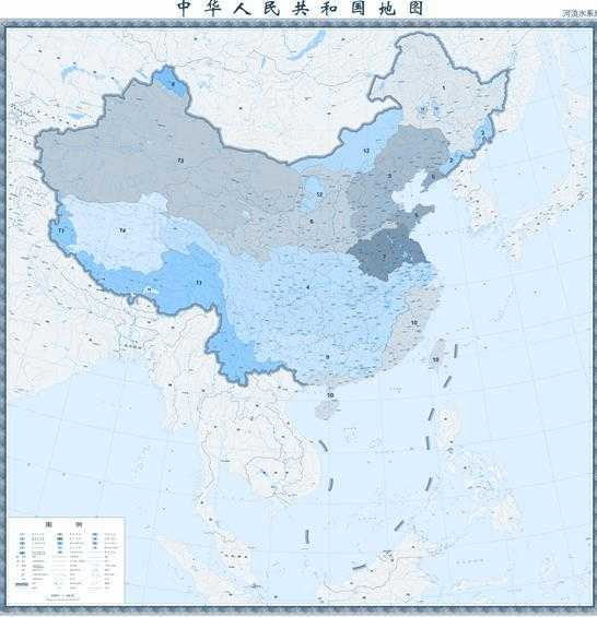 400万河流水系版中国地图