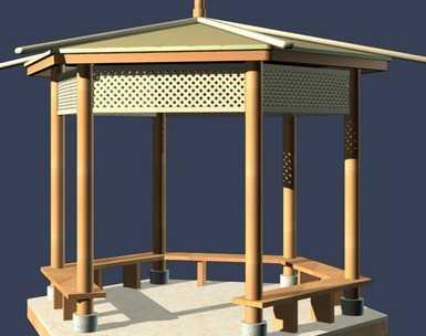 亭子模型平面及3D素材