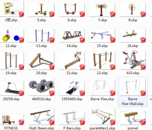 室外健身器材SketchUp模型