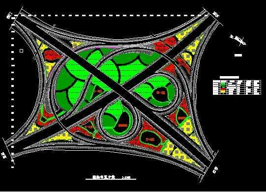 高速公路转盘绿化设计图