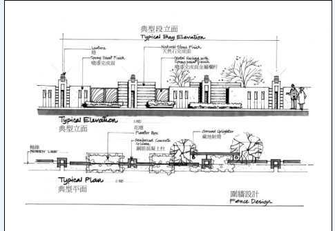 围墙设计手绘图免费下载