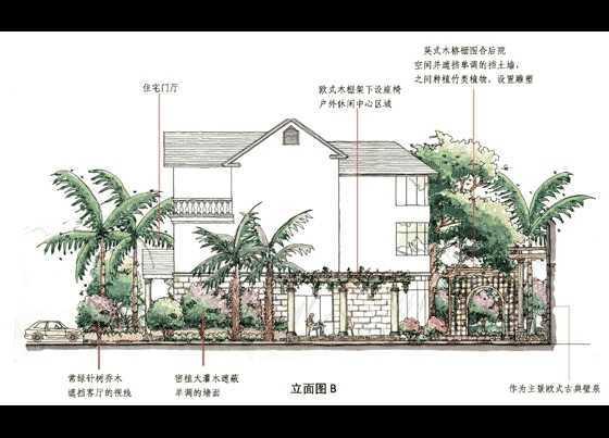 欧式别墅园林设计手绘图免费下载 园林景观效果图图片