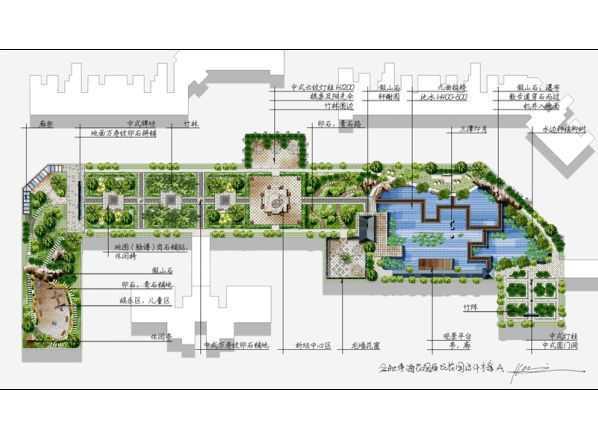 屋顶花园景观设计方案手绘图免费下载 - 园林景观效果