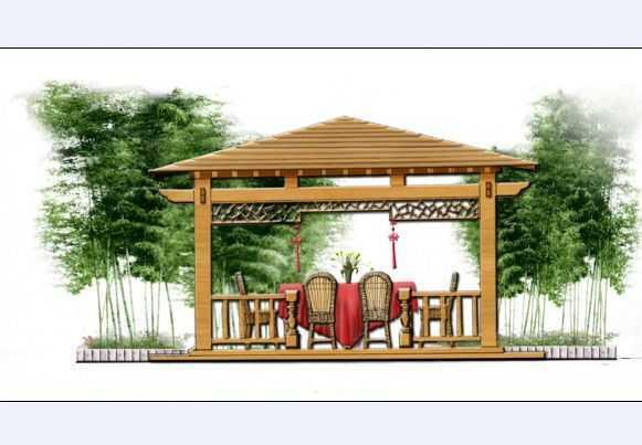 几张景观亭手绘效果图