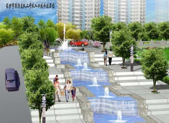 某入口跌水效果图免费下载 - 园林景观效果图 - 土木