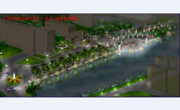 园滨水广场夜景俯视图免费下载 园林景观效果图