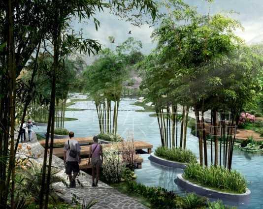 河道景观效果图免费下载 园林景观效果图