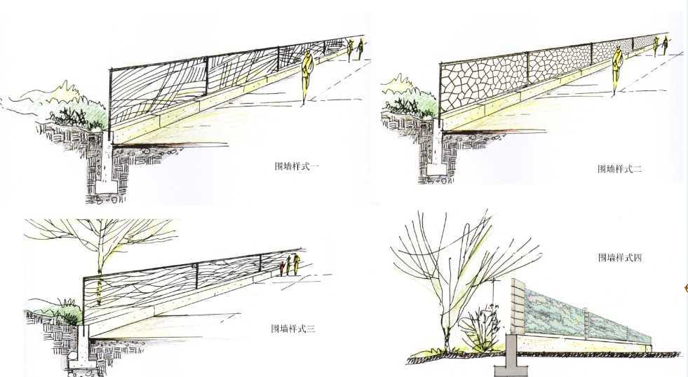 围栏样式手绘图