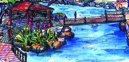 水中亭景观设计手绘图