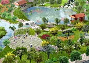 某市小游园景观设计鸟瞰图