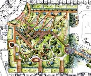 某广场景观设计手绘图免费下载 园林景观效果图