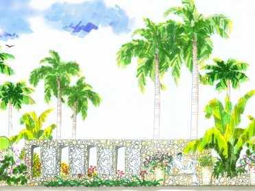 手绘设计景墙效果图免费下载
