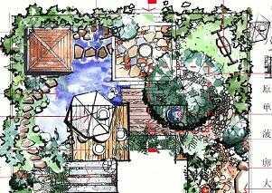 某别墅庭院设计手绘图免费下载 园林景观效果图
