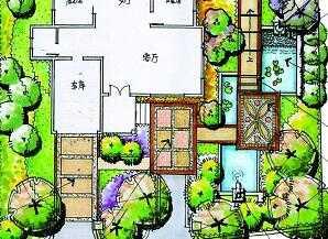 别墅庭院设计手绘图免费下载 园林景观效果图
