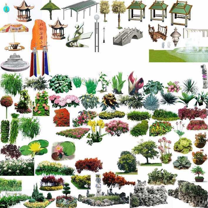 ps后期处理 小品花草集免费下载 园林景观素材