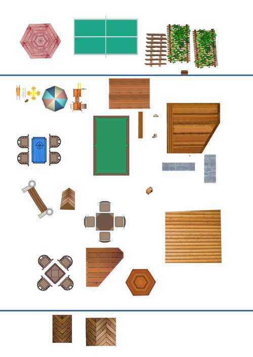 亭子,滑梯,桌椅彩色平面素材