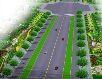 城市道路绿化带效果图免费下载 园林景观素材