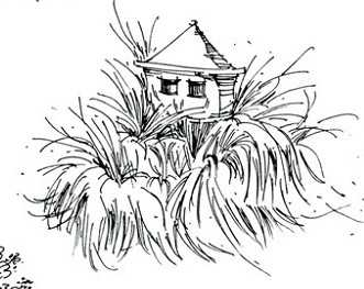 园林单体钢笔画