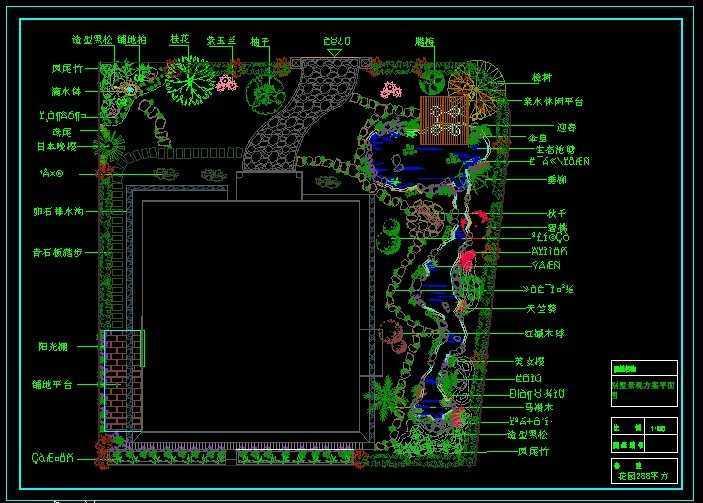 私人别墅庭院绿化总平面图