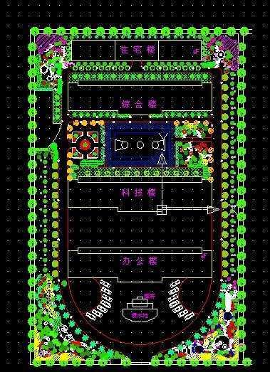 钢厂园林绿地植物配植平面图