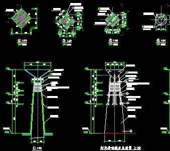 灯光音响景观柱施工图免费下载