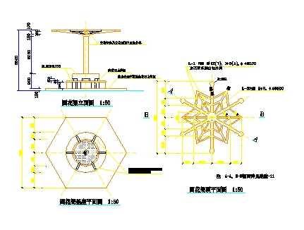 圆花架设计平立面图